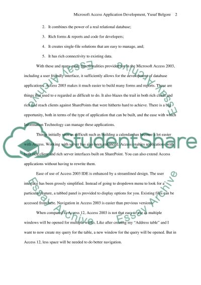 Microsoft Access Applications Development essay example