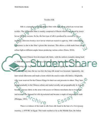 Textiles - Silk essay example