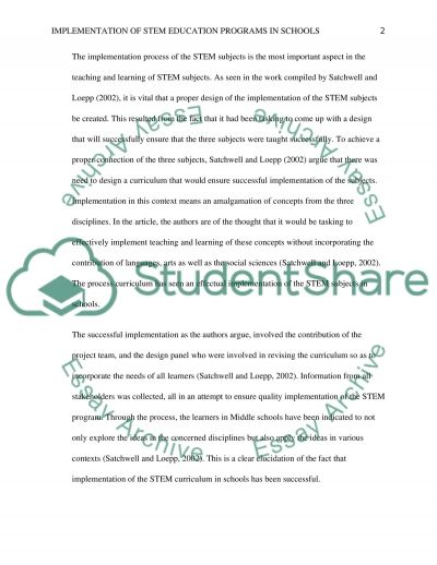 Implementation of STEM Education Programs in Schools essay example