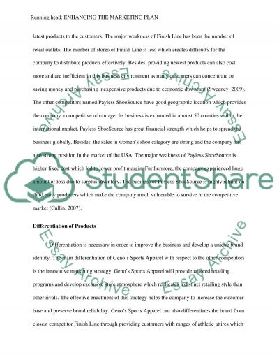 Enhancing the Marketing Plan Essay example