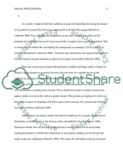 Social intelligence essay example