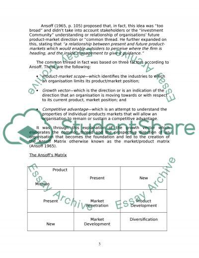 Ansoff Matrix essay example