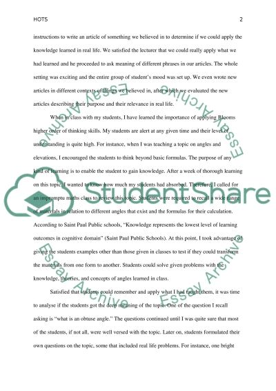 Blooms Taxonomy Higher Order Thinking Skills essay example
