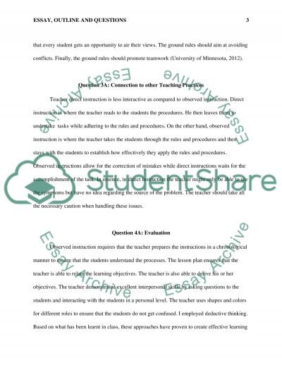 Essay, outline, questions essay example