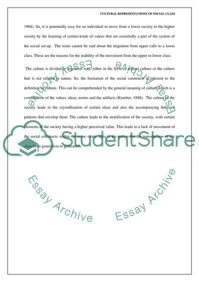 Cultural Representations Of Social Class Essay Example  Topics And  Cultural Representations Of Social Class