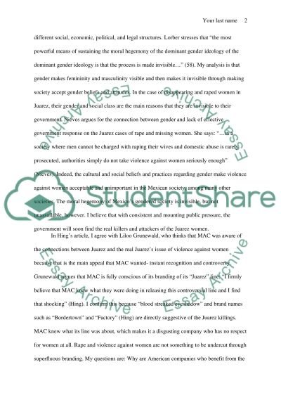 Reading Response Essay example