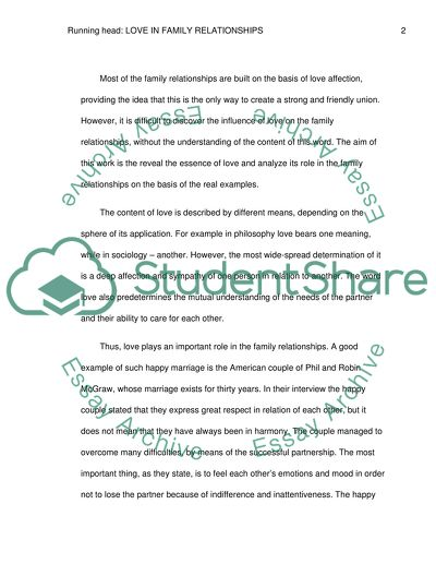 Family relationships essay