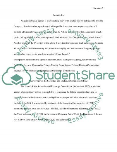 Accounting: Administrative agencies essay example