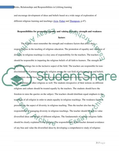 Roles, Relationships and Responsibilities in Lifelong learning essay example