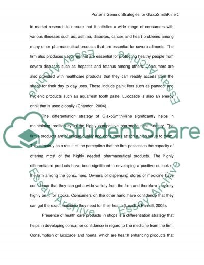 Porters generic strategies for Glaxo Smith Kline essay example