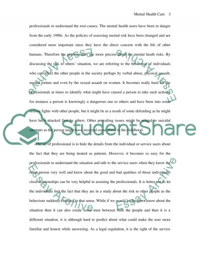 Risk Management In Mental Health Care essay example