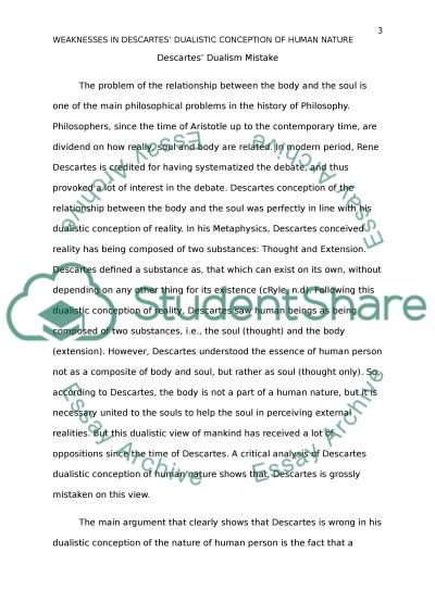 Dualisms Mistake essay example