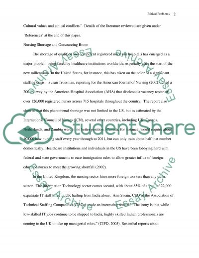 Ethical Problems in Outsourcing Expatriate Nurses Essay example