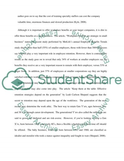 Employee retention essay example