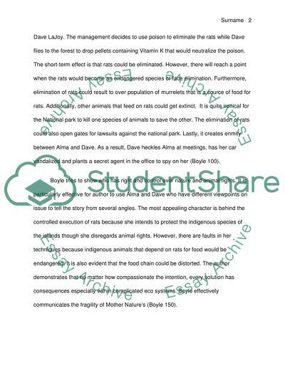 Response paper on a novel