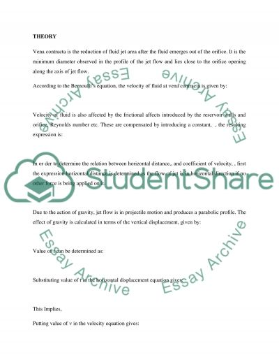 Civil engineering level 1 Fluid Mechanics Lab report (oriphis and free jet flow) essay example