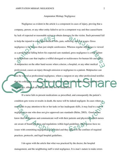 Making A Thesis Statement For An Essay Amputation Mishap Negligence Health Promotion Essay also High School Personal Statement Sample Essays Amputation Mishap Negligence Essay Example  Topics And Well Written  English Literature Essay Questions