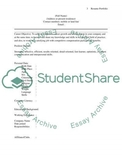 Resume Portfolio essay example