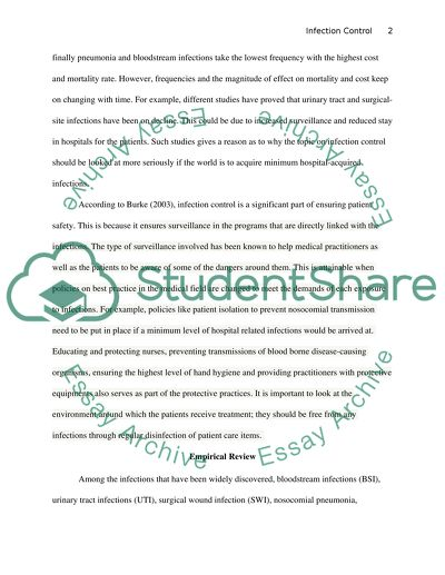 Infection control essay