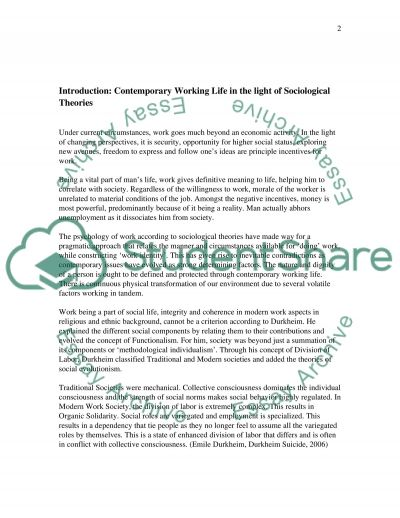Sociology of work assignment essay example
