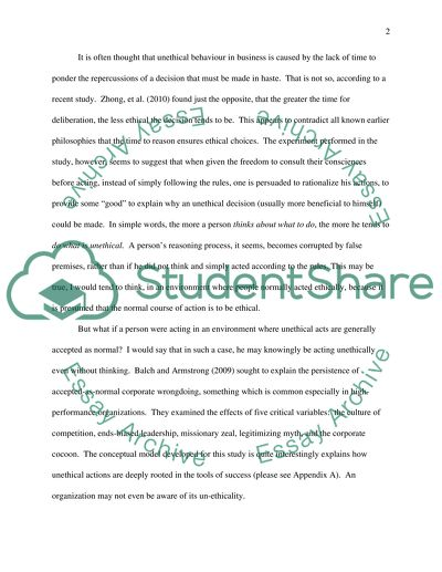 Unethical Desion in business essay example