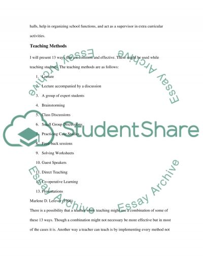 Classroom Instructional Strategy Essay example