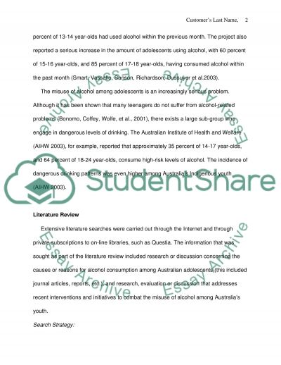 Alcohol Addiction and Adolescents essay example