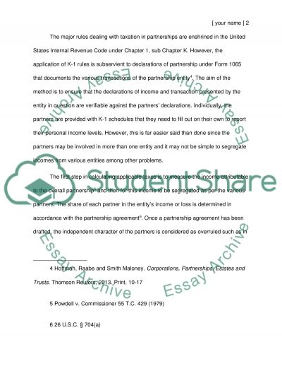 Tax Aspects of Partnerships essay example