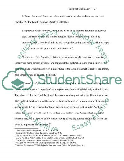 EC Law essay example