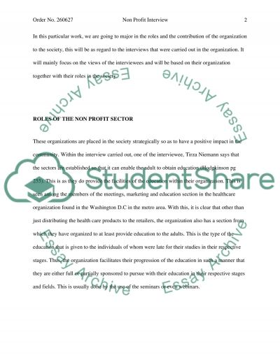 Non Profit Interview essay example