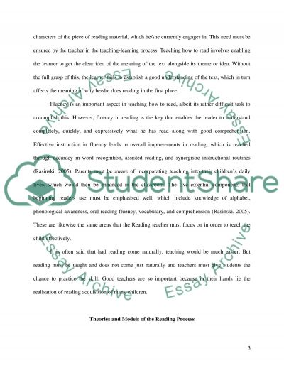 Teaching and Assessment of Reading essay example