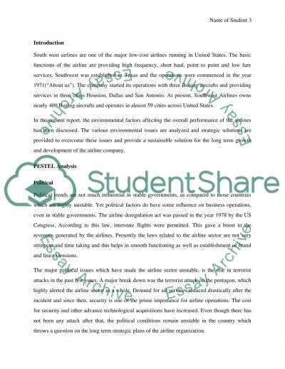 South West Airlines Admission Essay example