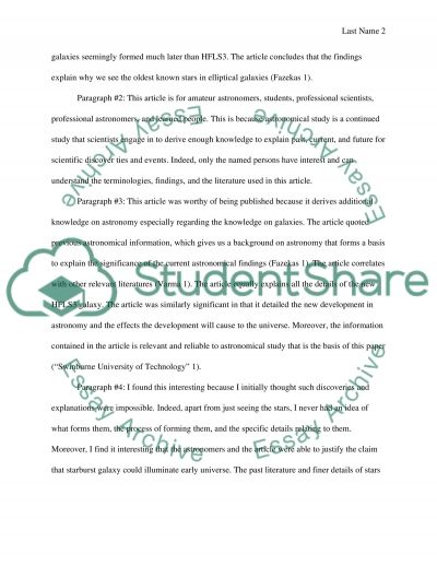 Project: Cosmology In The News essay example