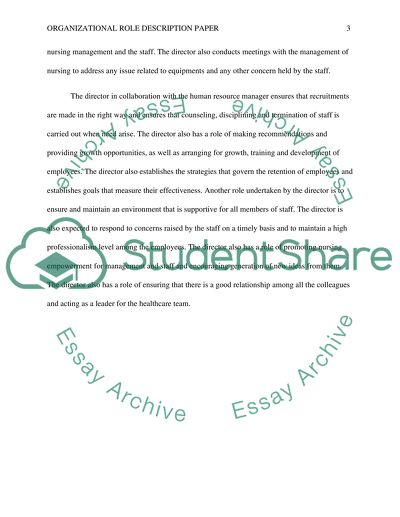 Organizational Role Description Paper