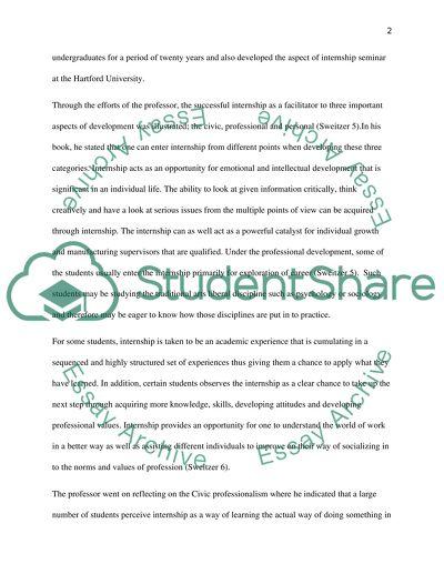 Internship essay sample
