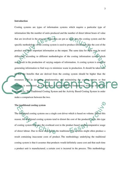 The Activity Based Costing System Assignment Example Topics And Well Written Essays 2500 Words