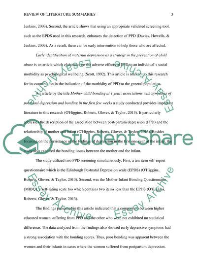 Review of Literature Summaries