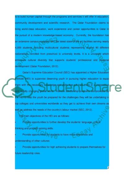 Higher education in Qatar essay example