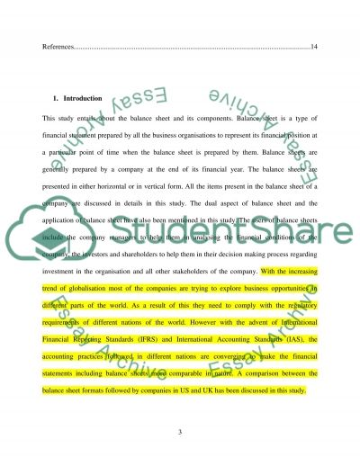 Balance sheet Essay example