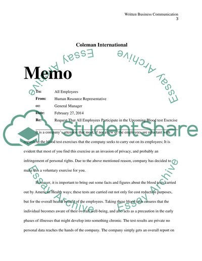 Written Business Communication (Assignment #3A)