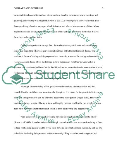 Cyber-Dating and Traditional Dating Methods Essay - 1
