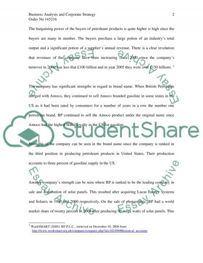 Business Analysis and Corporate Strategy of BP GROUP PLC Essay example