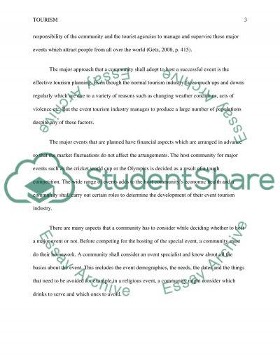 Event Tourism essay example