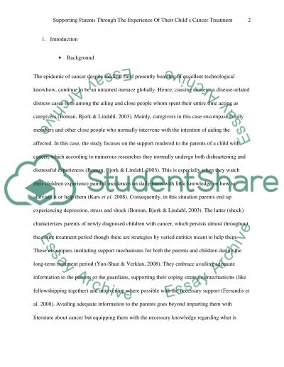 Supporting parents through the experience of their childs cancer treatment essay example