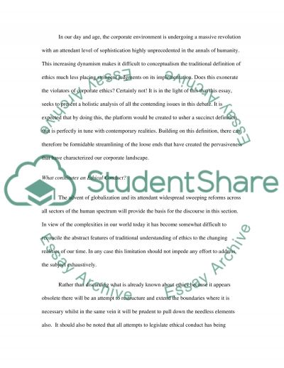 Ethics in Modern American Corporate Environment essay example