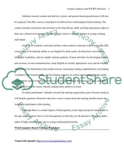 Learner Analysis and WBCT Selection Report essay example