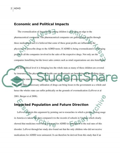 Attention Deficit Hyperactivity Disorder and Its Impacts essay example