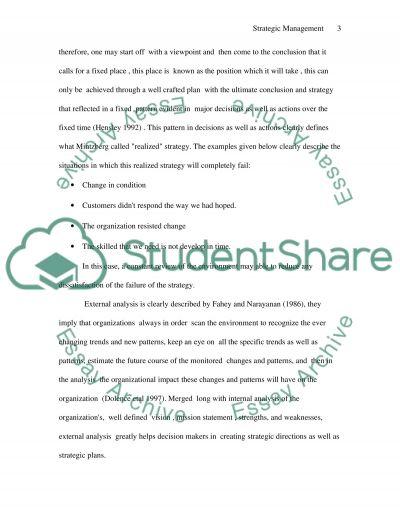 Strategic Management Involvement essay example